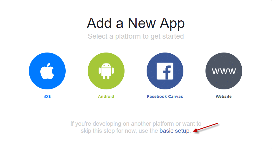 Click Basic setup in Facebook app developers app