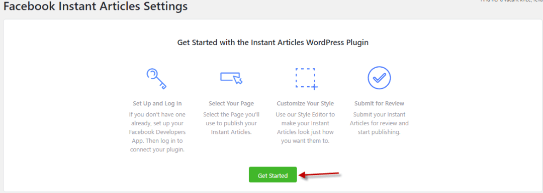 Click get started in facbook instant articles wordpress plugin