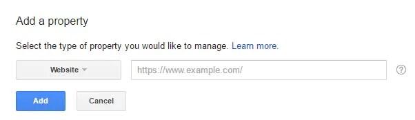 Add website URL in Add a Propery dialog box in Google Search Console