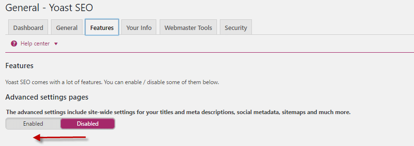 Enable Advanced Settings in Yoast SEO plugin