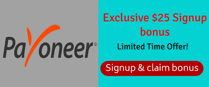 payoneer $25 sign up bonus banner