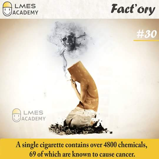 #30 A single cigarette contains over 4800 chemicals, 69 of which are known to cause cancer.