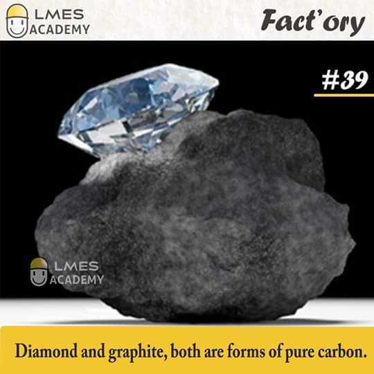 #39 Diamond and graphite, both are forms of pure carbon.