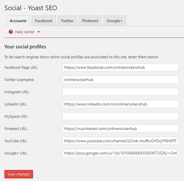 Social - Yoast SEO - Accounts tab