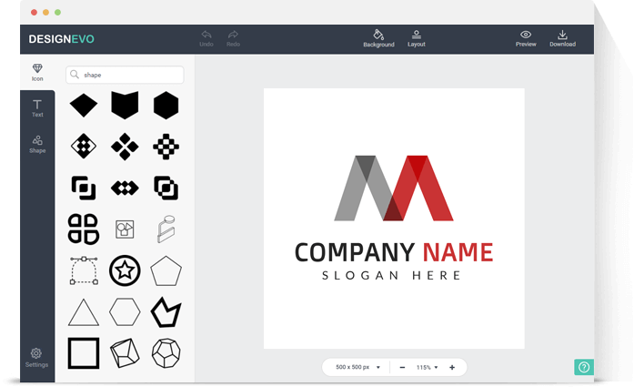 DesignEVO - Add icon and shapes to the logo