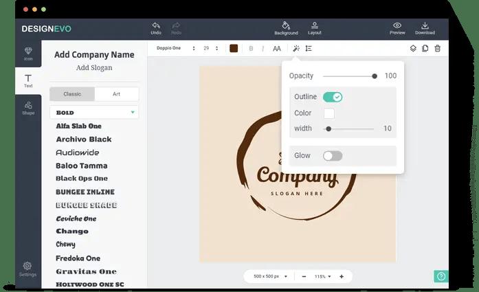 DesignEVO - Add text to your logo