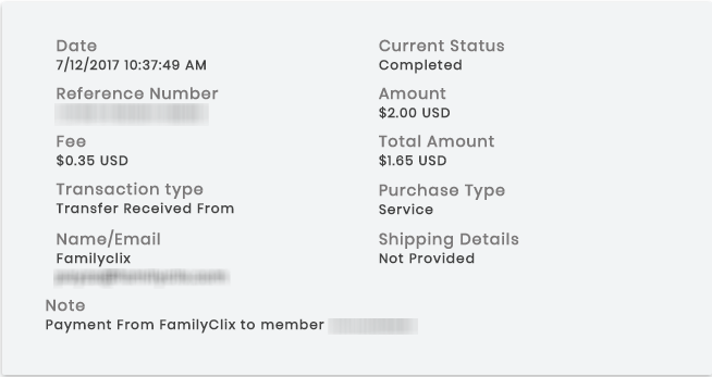 FamilyClix Payment Proof - July 2017
