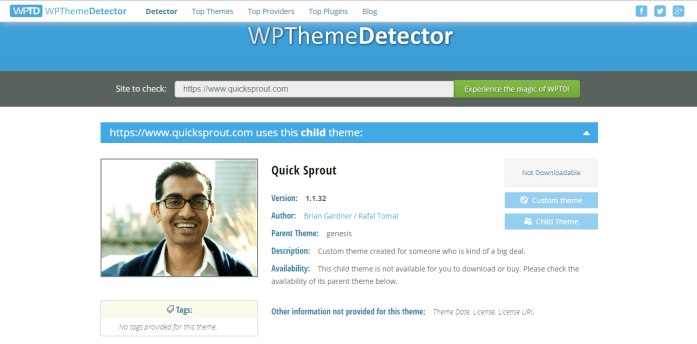QuickSprout Theme Detected by WPThemeDetector