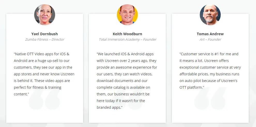 Uscreen Customer testimonials