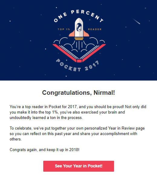 Mail from Pocket - Nirmal selected as top 1% reader