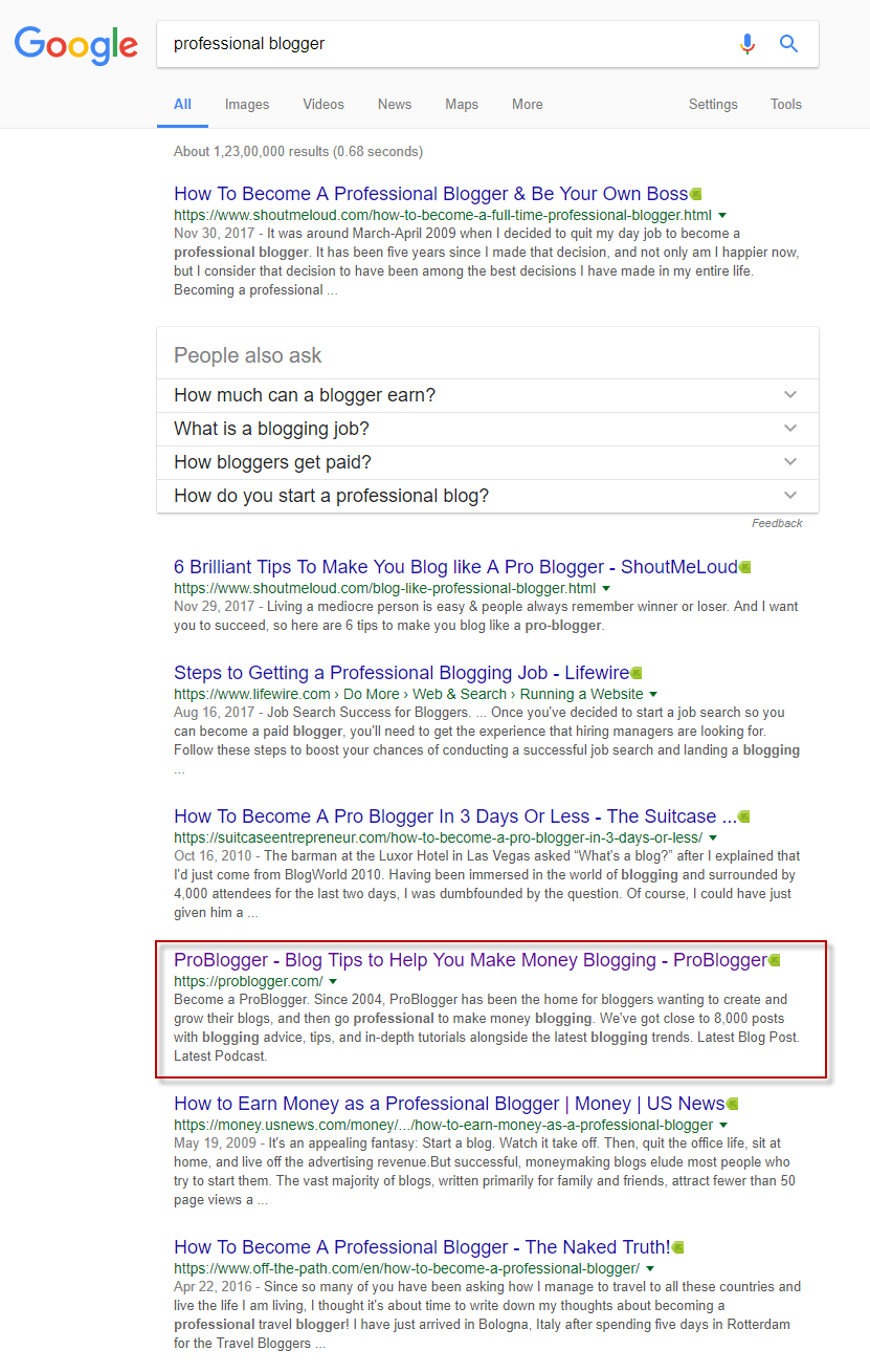 """ProBlogger shown in search results for search """"Professional Blogger"""""""