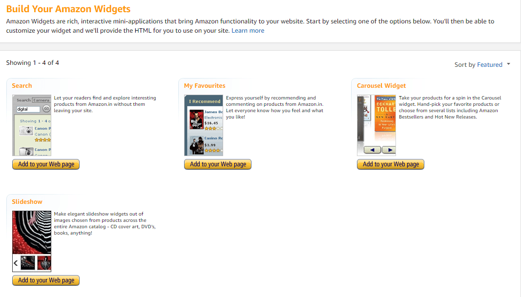 Amazon Associate Affiliate Widgets for Sidebar