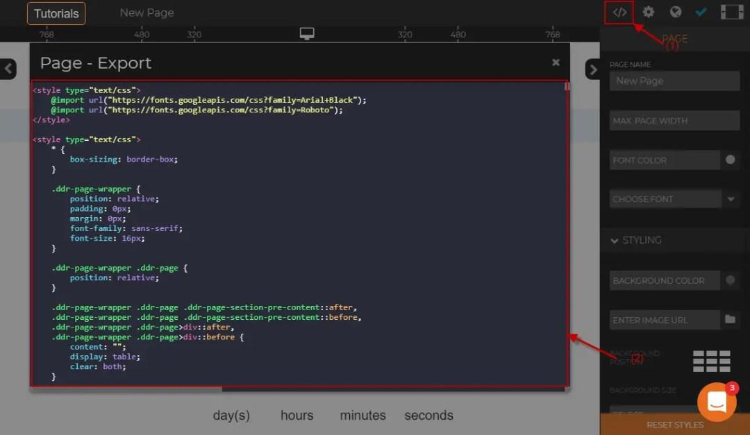 Exporting HTML code at Dragdropr