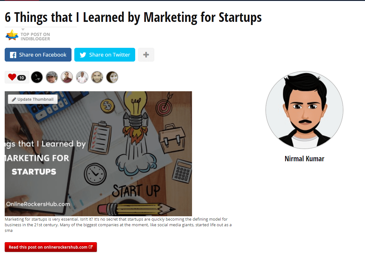 IndiBlogger Page of 6 things that I learned by Marketing for Startups