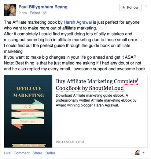 Affiliate Marketing eBook Testimonial by Paul Billygraham Reang