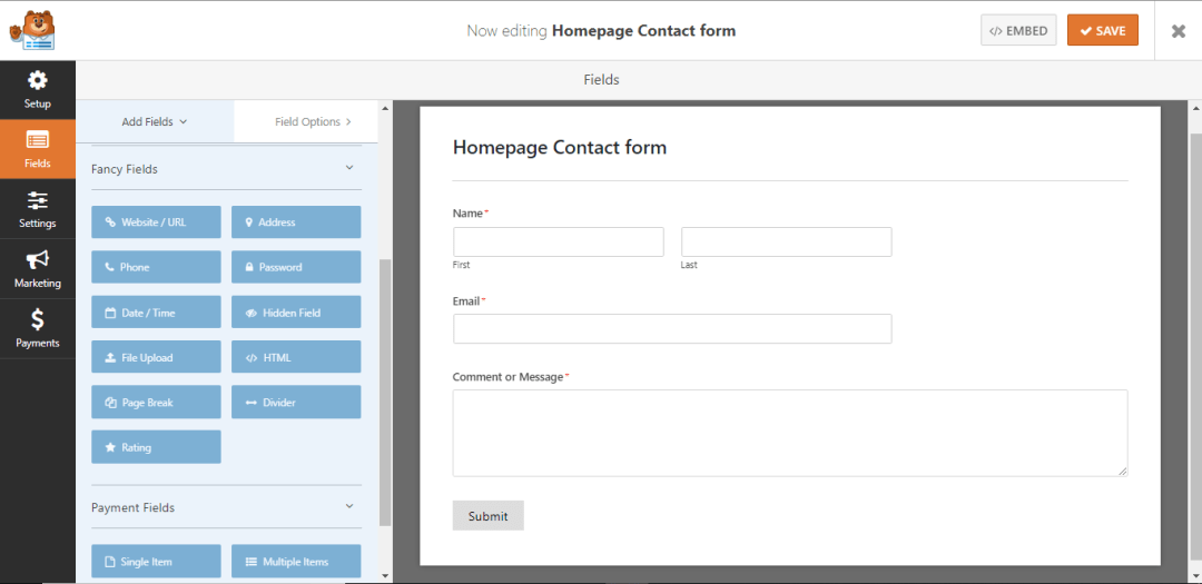New contact form created at WPForms