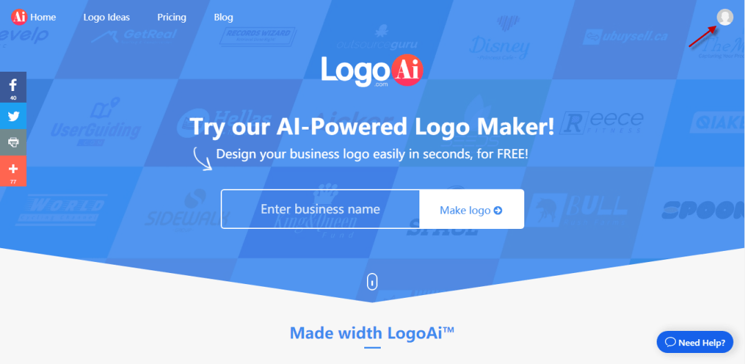 Click the Avatar shown at LogoAi