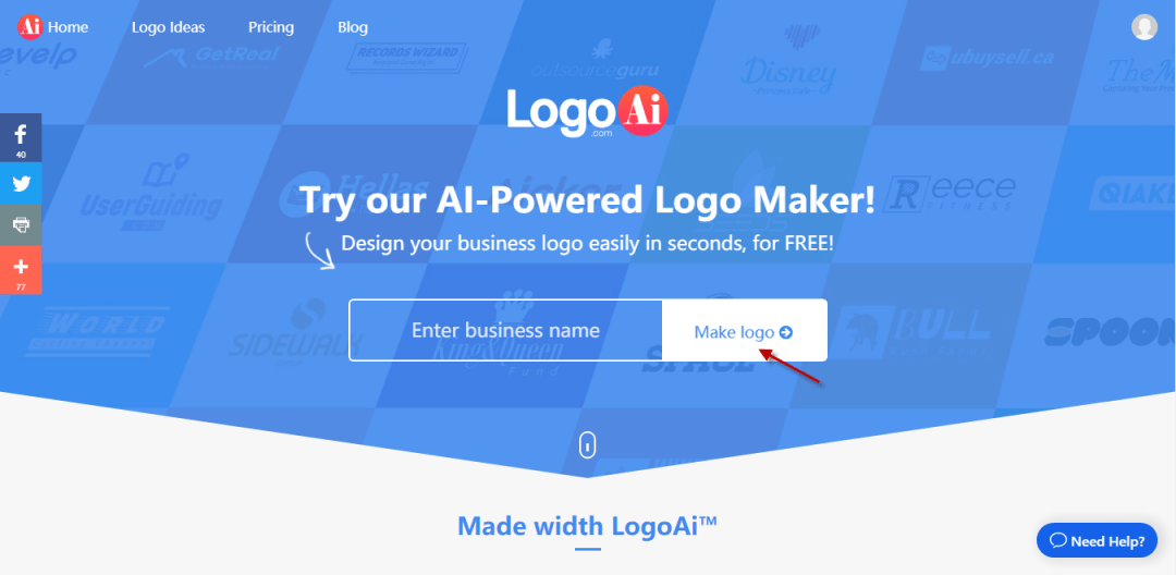 Enter the Business name in LogoAi