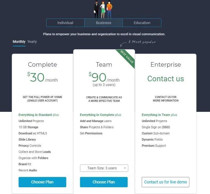 Visme Pricing for Business