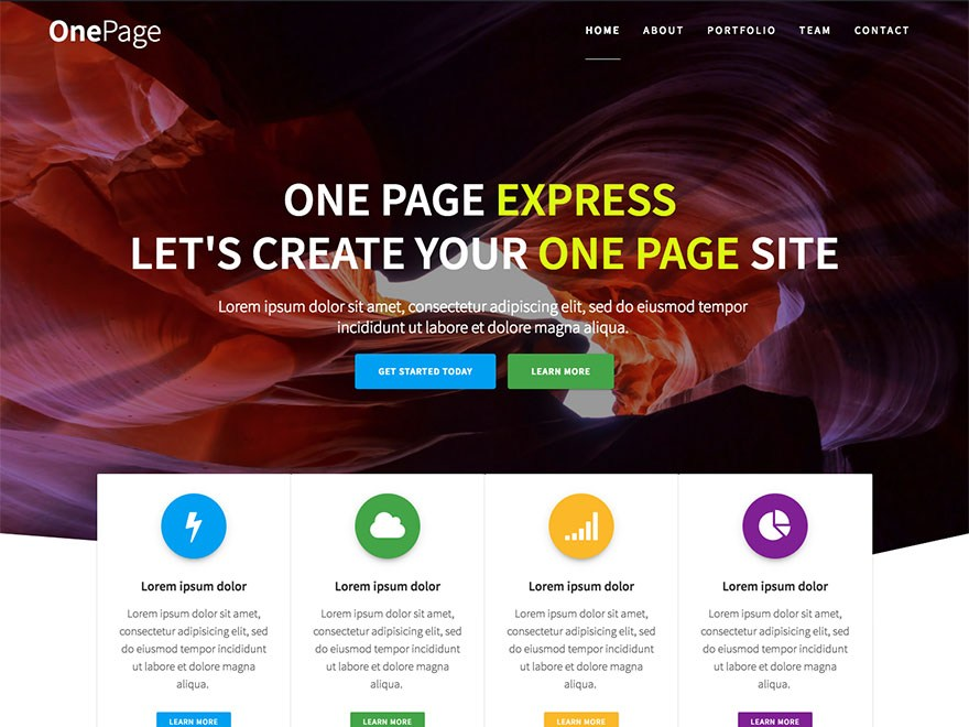 One Page Express WordPress Theme