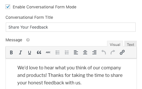 Add a title and message for Conversational Forms