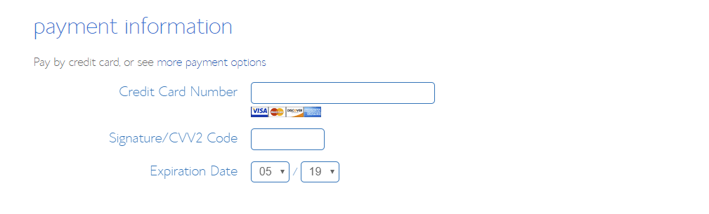 BlueHost Hosting Signup Payment Information
