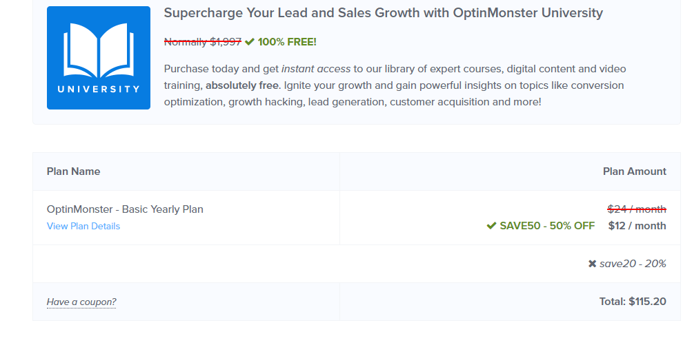 Optinmonster 20% discount