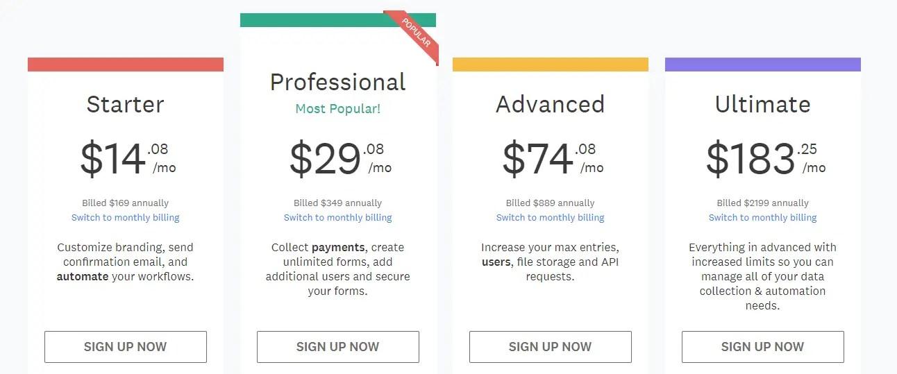 wufoo pricing