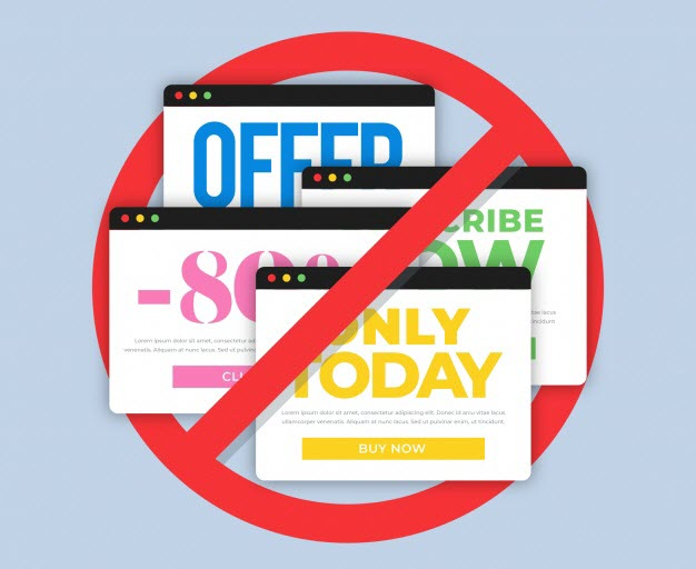 Bombarding users with sales ads