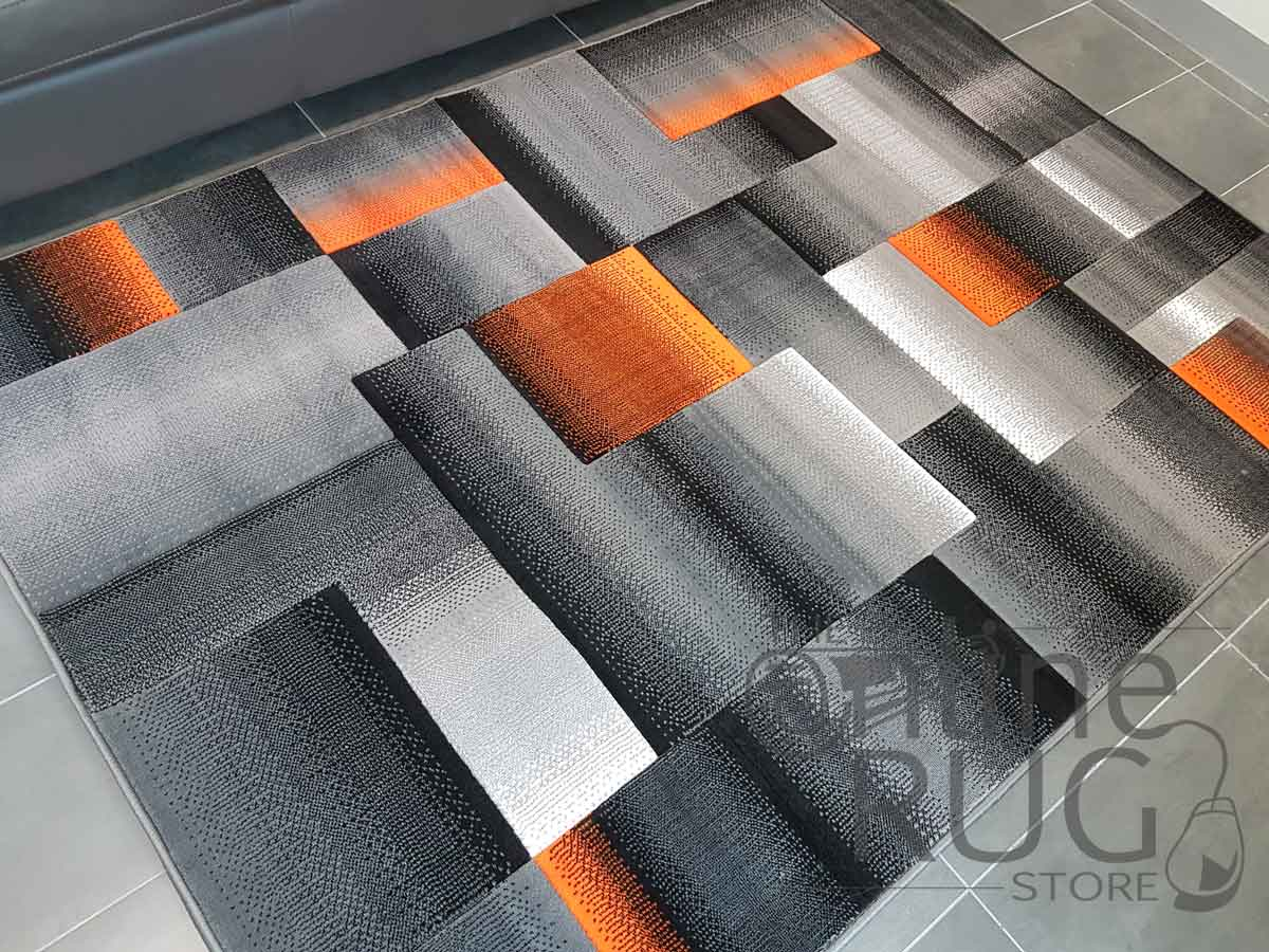 Style Grey Orange Geometric Square  The Online Rug Store