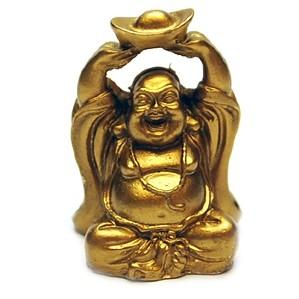 Buddha Vesel cu un lingou in maini.