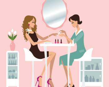 Woman making manicure in a nail salon. Pink background.