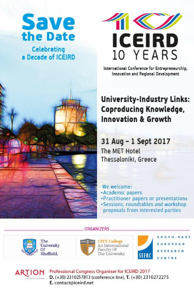 ICEIRD 10 Save The Date 31 Aug 2017  to 1 Sep 2017