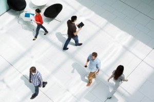 people walking separate ways