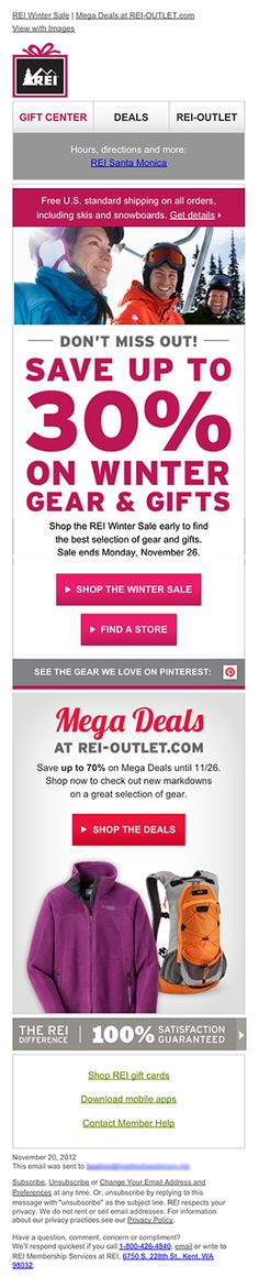 Mailable Microsites: How REI 'Served' Up Interactivity Using Hamburger Menu - Menu in emails REI 2012 sample