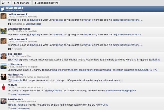 Kayak Ireland Twitter search