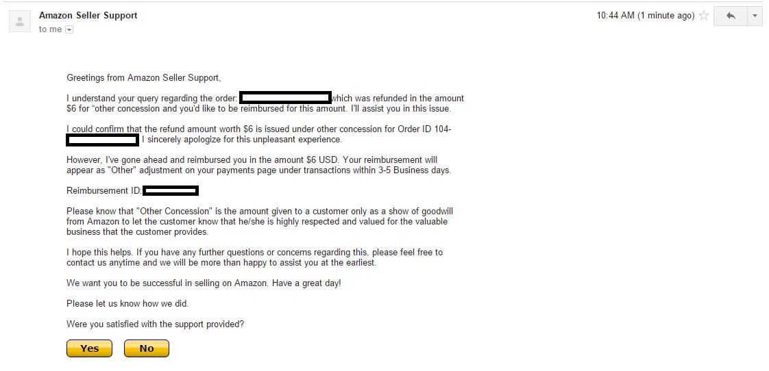 Confirmation email of reimbursement