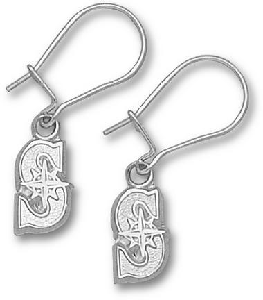 """Seattle Mariners 3/8"""" """"S"""" Dangle Earrings - Sterling Silver Jewelry"""