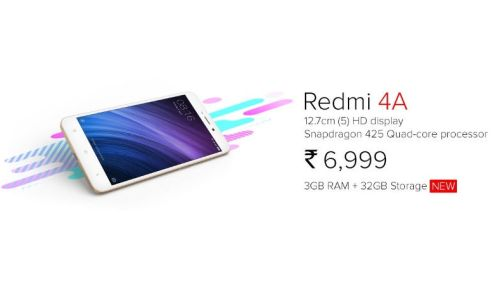 New Redmi 4A with 3GB RAM, 32GB Storage only at Rs 6,999