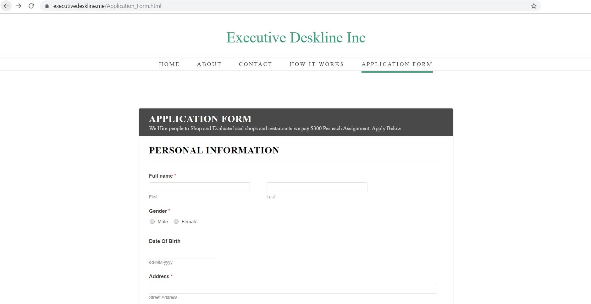 Executive Deskline Inc Mystery Shoppers Scam