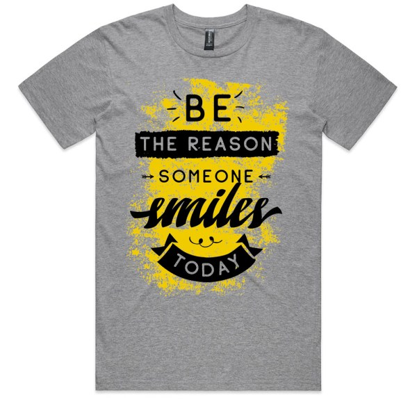 Be The Reason Someone Smiles Today Men Grey Marle T Shirts