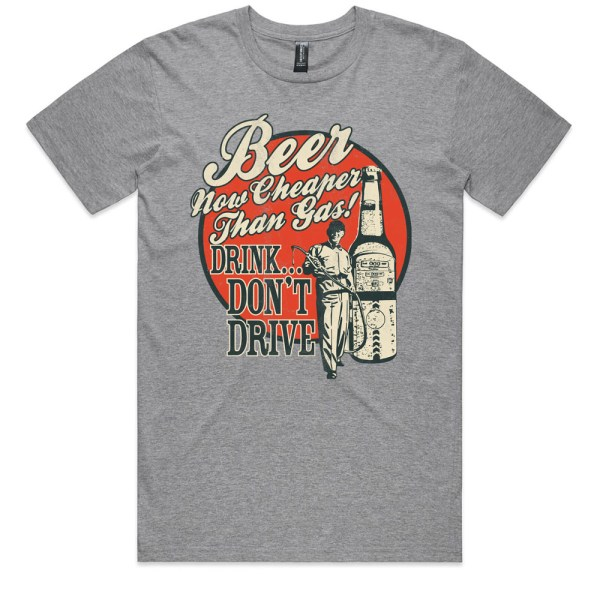 Beer Now Cheaper Than Gas Men Grey Marle T Shirt