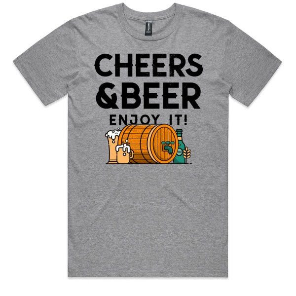 Cheers and Beers Men Grey Marle T Shirts
