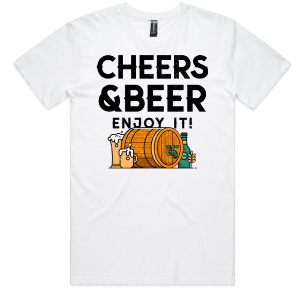 Cheers and Beers Men White T Shirts