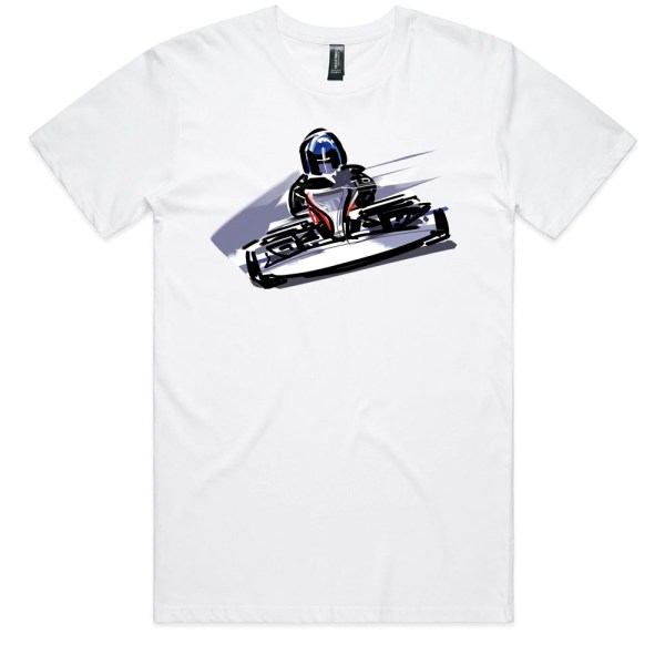 Go Cart Men White T Shirts