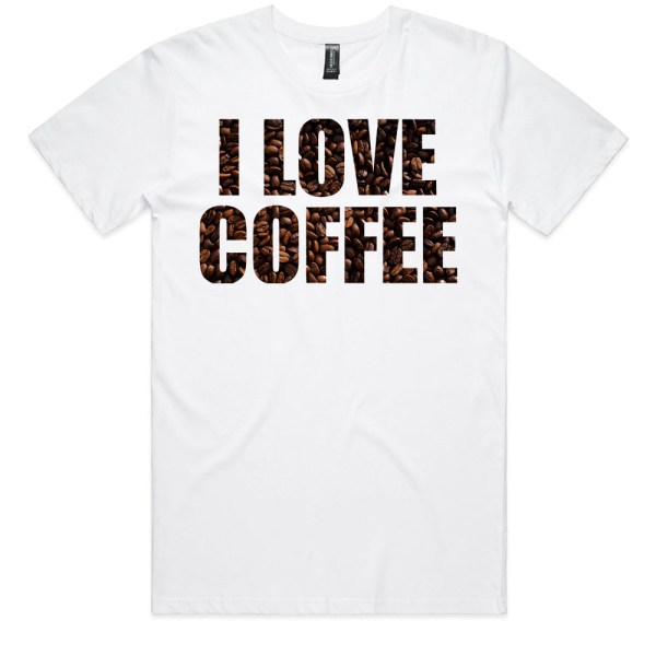 I Love Coffee Men White Tee