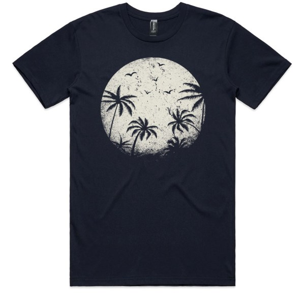 Palm Trees in the Moonlight Men Navy T Shirts