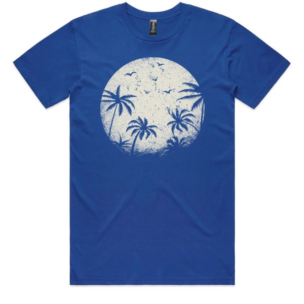 Palm Trees in the Moonlight Men Royal T Shirts