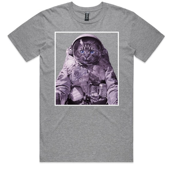 Space Kitty Men Grey Marle T Shirts