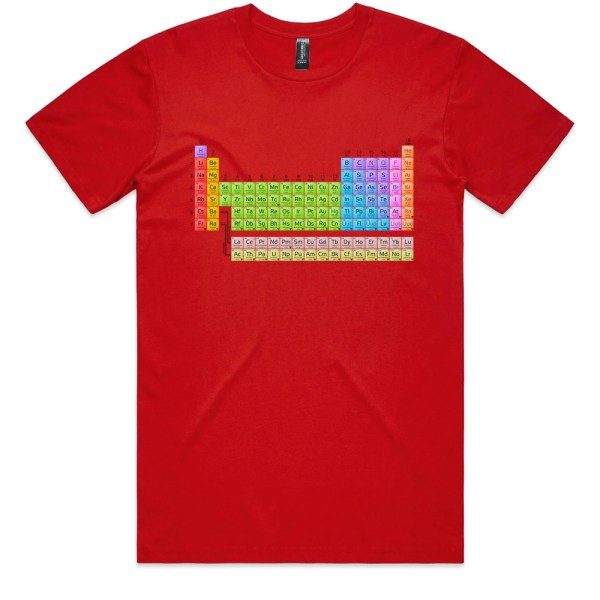 Periodic Table Men Red T Shirts